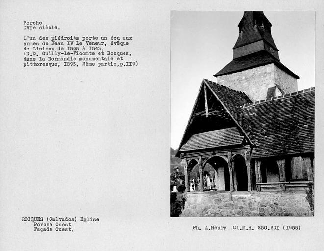 Eglise en pan-de-bois ; Détail de la façade ouest du porche ouest