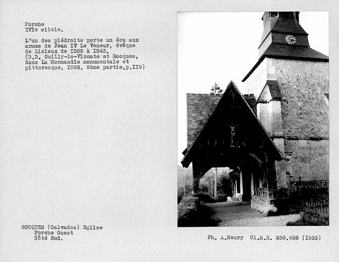 Eglise en pan-de-bois ; Ensemble de la face sud du porche ouest