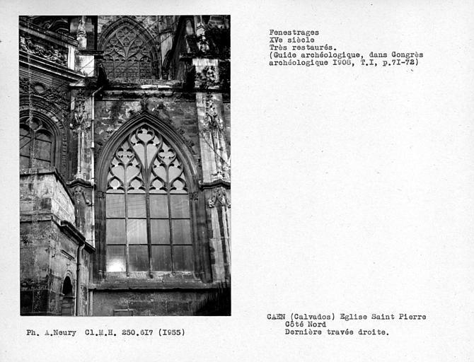 Fenestrages de la chapelle nord avant l'absidiole nord-est