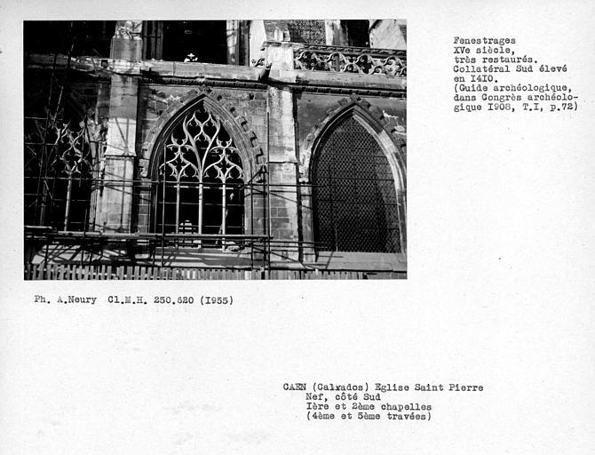 Fenestrages restaurés des première et deuxième chapelles sud