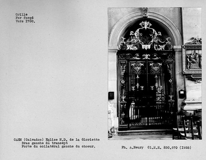 Grille en fer forgé ouvrant sur le bas-côté gauche du choeur, bras gauche du transept
