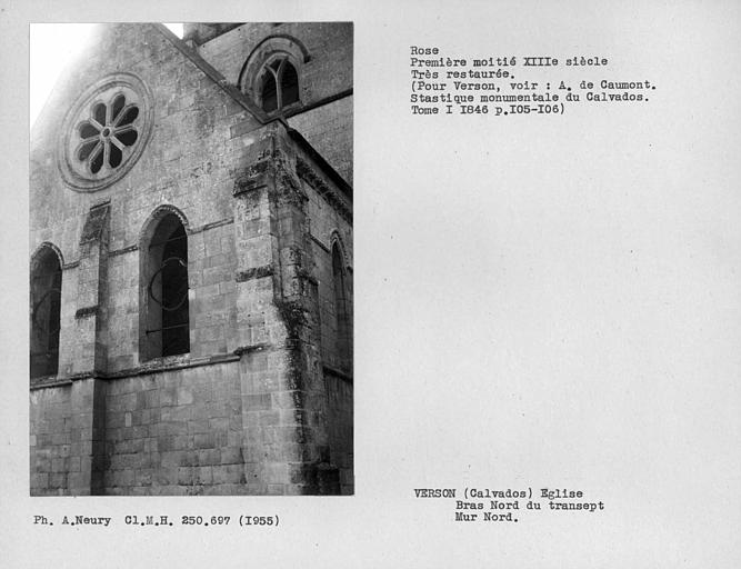 Rose, en partie restaurée, mur nord du bras nord du transept