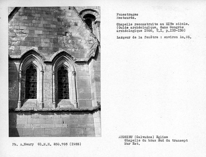 Fenestrages restaurés de la chapelle à l'est du bras sud du transept