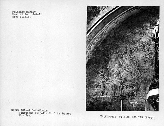 Peinture murale du mur est de la cinquième chapelle nord de la nef : Crucifixion, moitié gauche