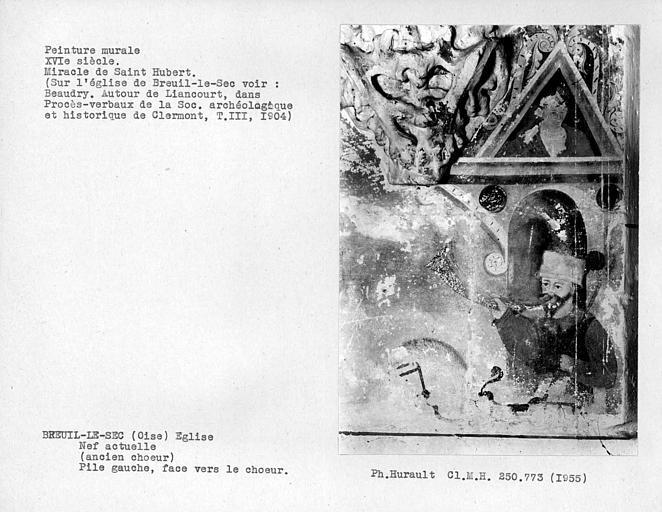 Nef, ancien choeur, peinture murale de la face vers choeur de la pile gauche : Miracle de Saint-Hubert, détail