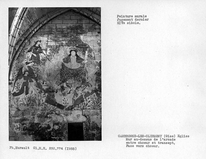 Peinture murale du mur au-dessus de l'arcade entre choeur et transept, face vers choeur : Jugement dernier, moitié gauche