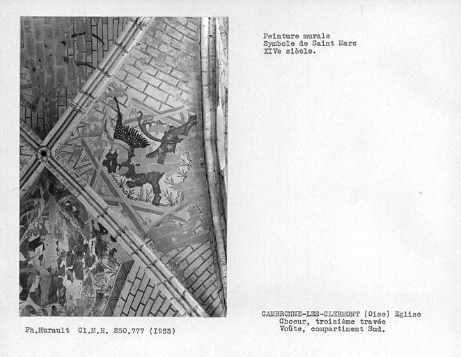 Peinture murale de la voûte de la troisième travée du choeur, symboles du Christ et évangélistes, détail : Christ et Saint-Marc