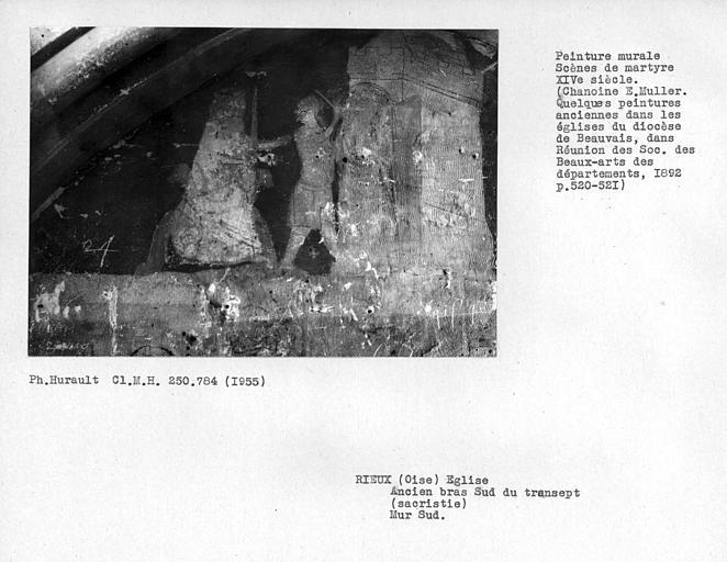 Ancien bras sud du transept, sacristie, enfeu avec peintures murales du mur sud : détail de l'histoire de Saint-Jean-Baptiste