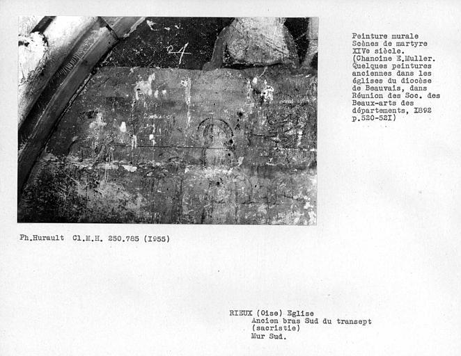Ancien bras sud du transept, sacristie, enfeu avec peintures murales du mur sud : détail de la partie inférieure