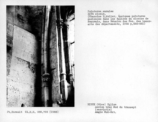 Ancien bras sud du transept, sacristie, peintures du mur sud à gauche de la fenêtre et peintures du mur est