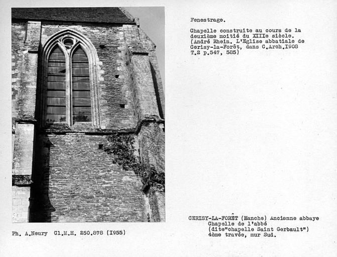 Fenestrage sud du choeur de la chapelle de l'abbé, fenêtre de la quatrième travée de l'édifice