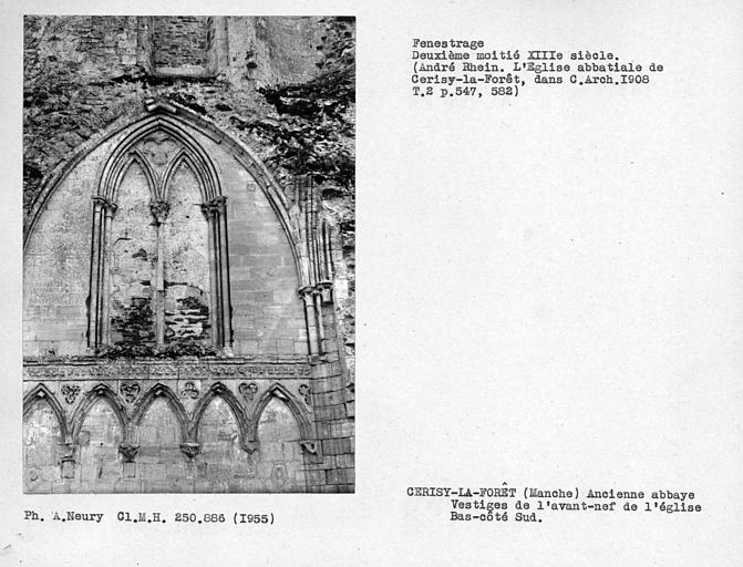 Fenestrage du mur sud du bâtiment disparu qui se trouvait au nord de la chapelle de l'abbé, vestiges de l'avant-nef de l'église