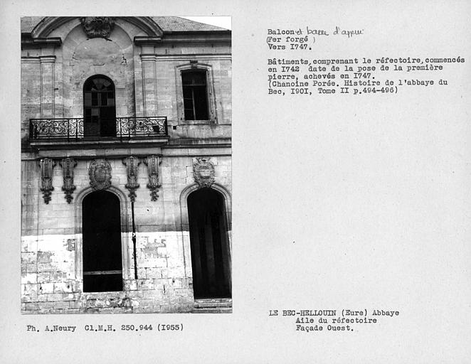 Balcon de la façade ouest de l'aile du réfectoire