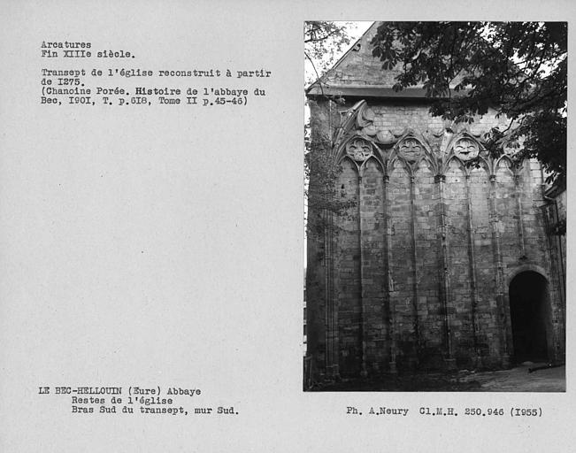 Arcatures du bras sud du transept, mur sud. Vestiges de l'église