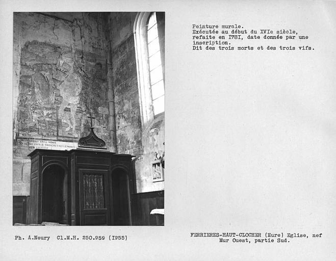 Peintures murales du mur nord de la nef : Légende de Sainte-Christine