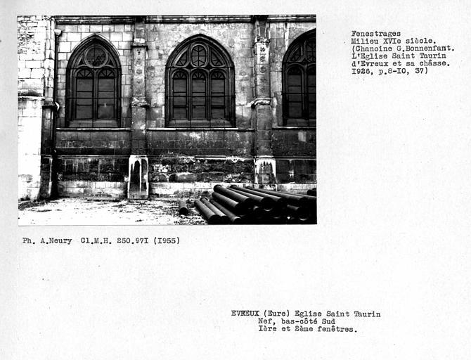 Fenestrages du bas-côté sud de la nef, première et deuxième travées