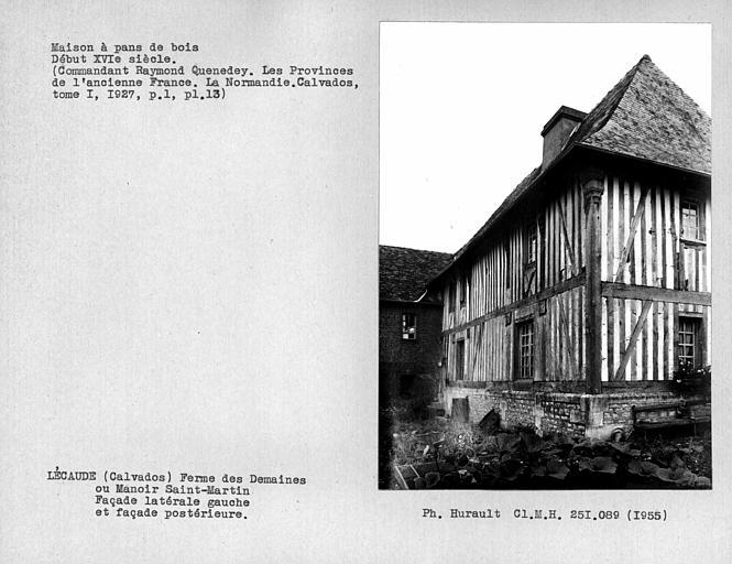 Ensemble de la façade latérale gauche et de la façade arrière en pan-de-bois