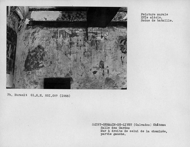 Salle des gardes, peinture murale de la partie gauche du mur à droite de celui de la cheminée : scène de bataille