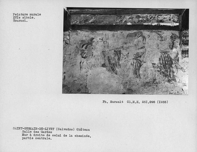 Salle des gardes, peinture murale de la partie centrale du mur à droite de celui de la cheminée : scène de tournoi