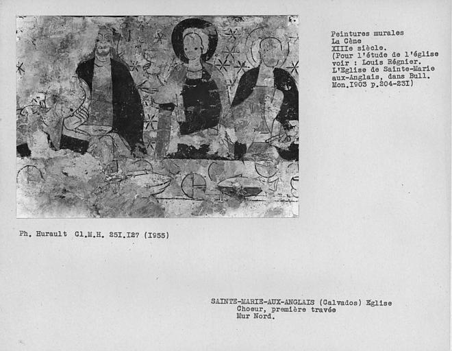 Peinture murale mur nord de la première travée du choeur : La Cène, détail