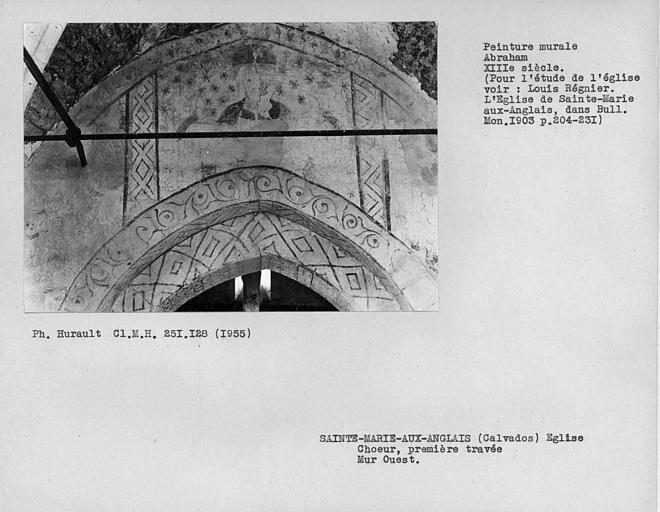 Première travée du choeur, peinture murale du mur au-dessus de l'arc ouest, séparant de la nef : Abraham