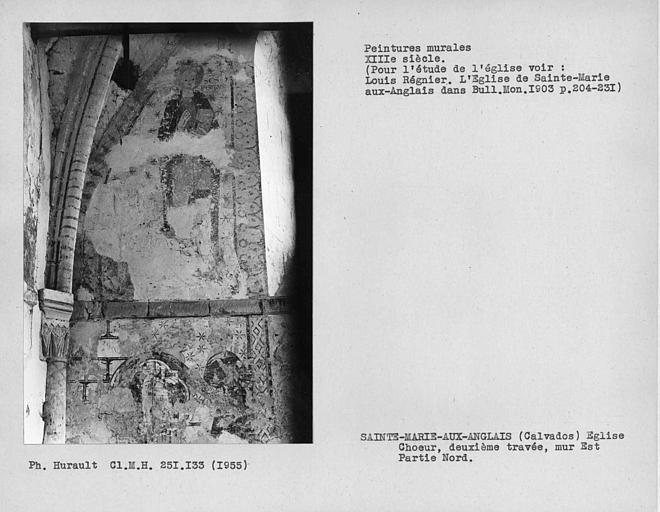 Partie à gauche de la fenêtre du mur est de la deuxième travée du choeur, Saint-Pierre et restes de peintures murales