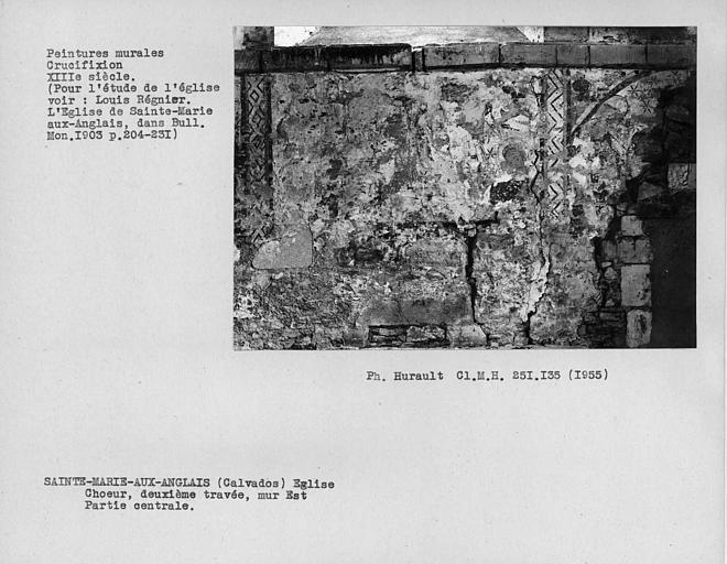 Peintures murales au-dessus de la fanêtre du mur est de la deuxième travée du choeur