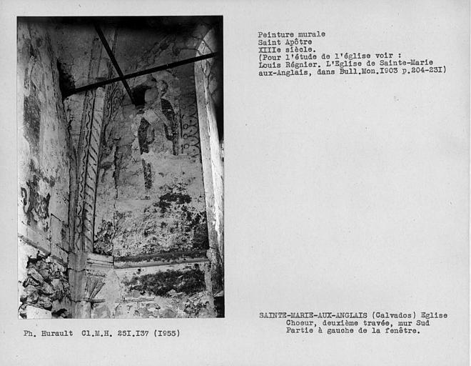 Mur sud de la deuxième travée du choeur, personnage à gauche de la fenêtre