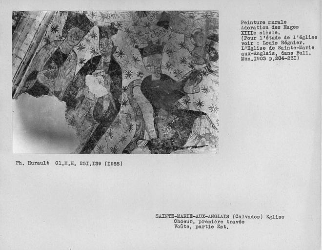 Peinture murale du compartiment est de la voûte de la première travée du choeur : Adoration des mages, détail