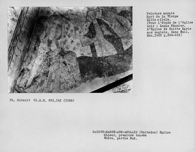 Peinture murale du compartiment sud de la voûte de la première travée du choeur : Mort de la Vierge, détail