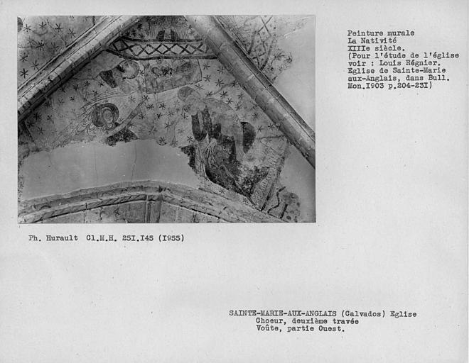 Peinture murale du compartiment ouest de la voûte de la deuxième travée du choeur : Nativité, ensemble