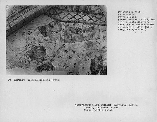 Peinture murale du compartiment ouest de la voûte de la deuxième travée du choeur : Nativité, détail