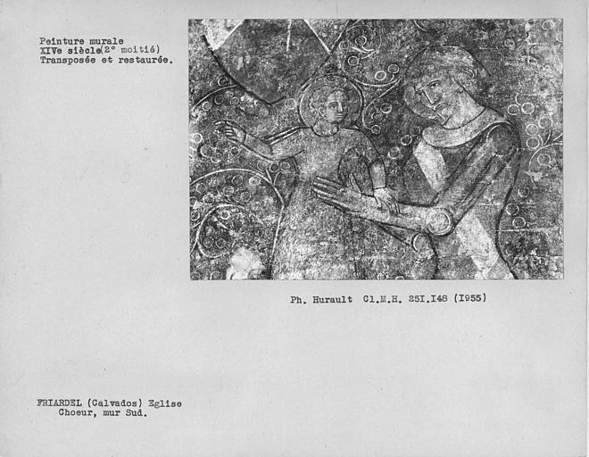 Peinture murale déposée et encadrée du mur sud du choeur : chevalier et Enfant nimbé