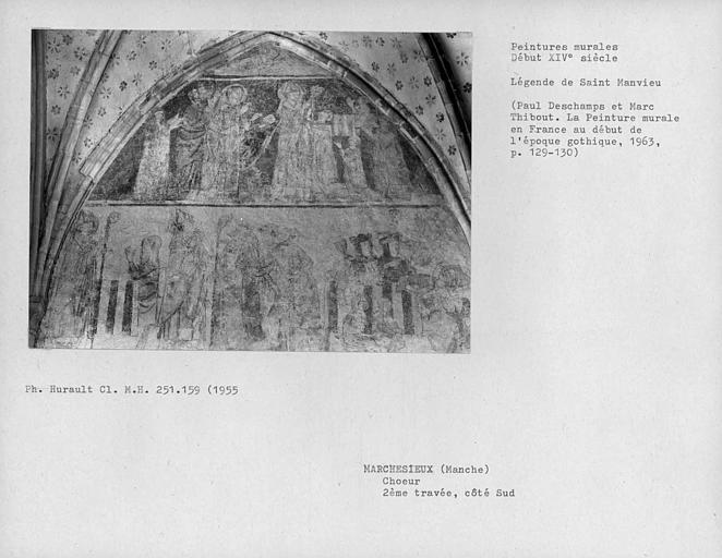 Mur sud de la deuxième travée du choeur, ensemble des peintures murales