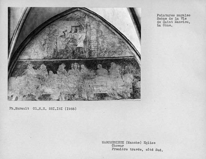 Mur sud de la première travée du choeur, ensemble des peintures murales