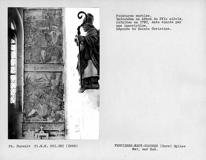 Peinture murale de la partie droite, ouest, du mur sud : Légende de Sainte-Christine