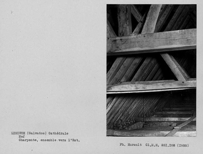 Charpente de la nef. Vue d'ensemble vers l'est
