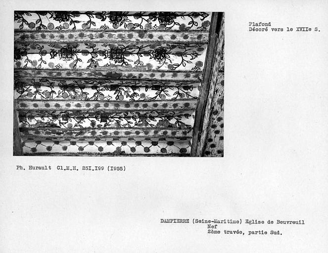 Plafond de la nef, détail de la partie sud de la deuxième travée