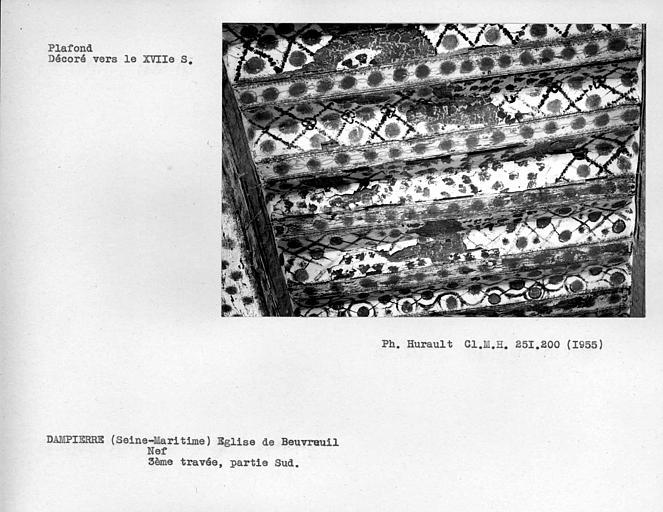 Plafond de la nef, détail de la partie sud de la troisième travée