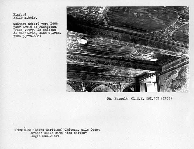 Ensemble du plafond de la salle des cartes de l'aile ouest, partie à gauche de l'entrée, angle sud-ouest