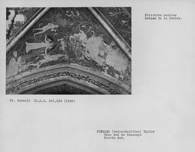 Bras sud du transept, peinture murale du compartiment sud de la voûte : Adam et Eve