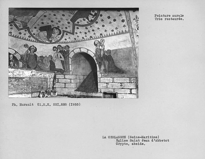 Peintures murales restaurées partie sud-est du choeur de la crypte