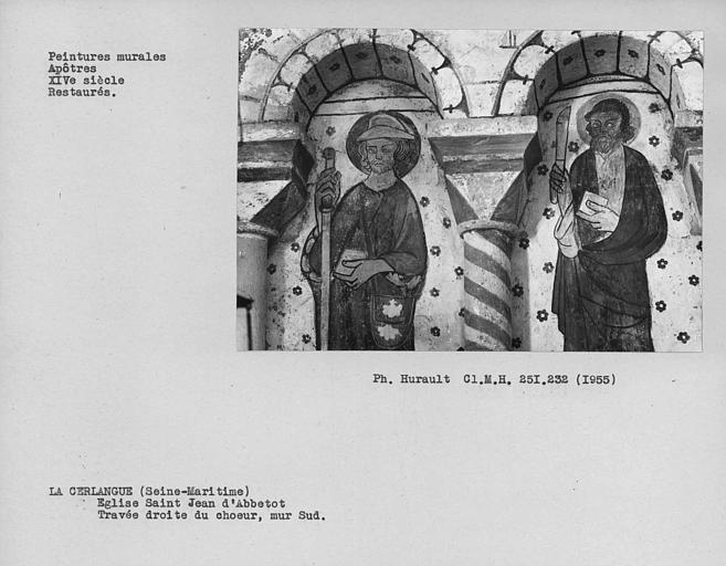 Peinture murale du mur sud de la travée droite du choeur : apôtres, détail restauré