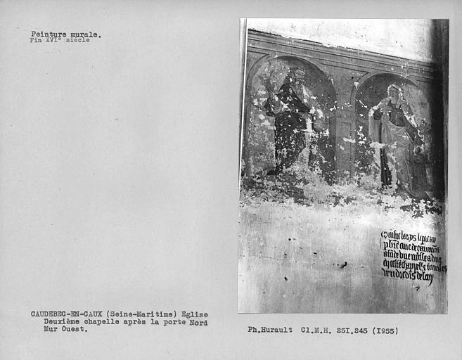 Deuxième chapelle nord après la porte nord, peintures murales du mur ouest : deux personnages debout sur des arcades