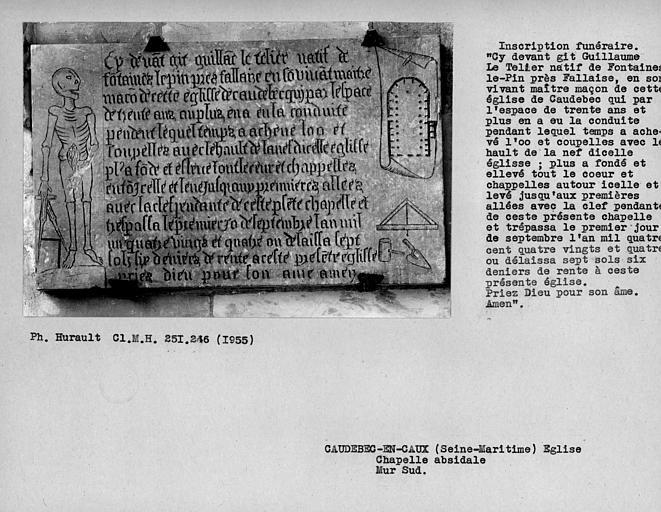 Inscription funéraire, épitaphe d'un constructeur de l'église, mur sud de la chapelle absidale du choeur