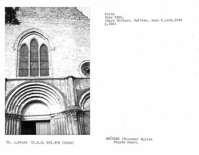 Porte et fenêtre centrale de la façade ouest