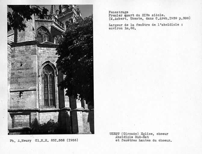 Fenestrage de l'absidiole sud-est et fenêtres hautes du choeur