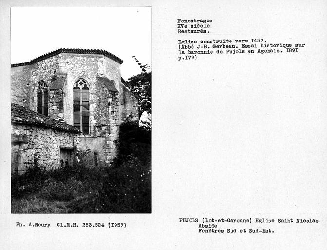 Fenestrages sud et sud-est restaurés de l'abside