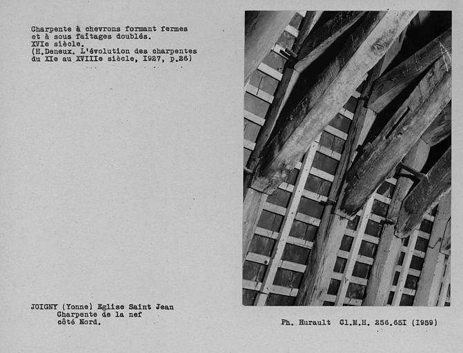 Charpente à chevrons-portant-fermes et à sous-faîtages doublés de la nef, détail supérieur côté nord