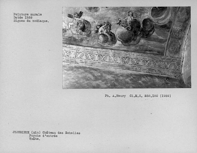 Voûte peinte du porche d'entrée : triomphe d'Apollon, côté droit